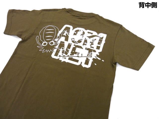 画像1: あおりねっとオリジナルTシャツ(エギ&ヤエンバージョン) オリーブ【メール便だと送料90円】