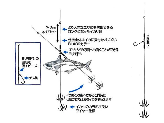 カツイチ(KATSUICHI)☆跳ね上げ式アオリイカ仕掛 イカ ...